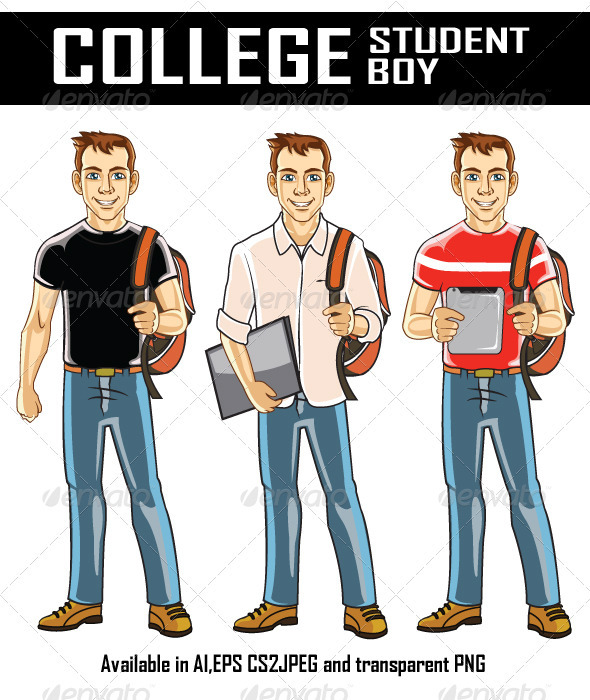 College Student Boy - People Characters