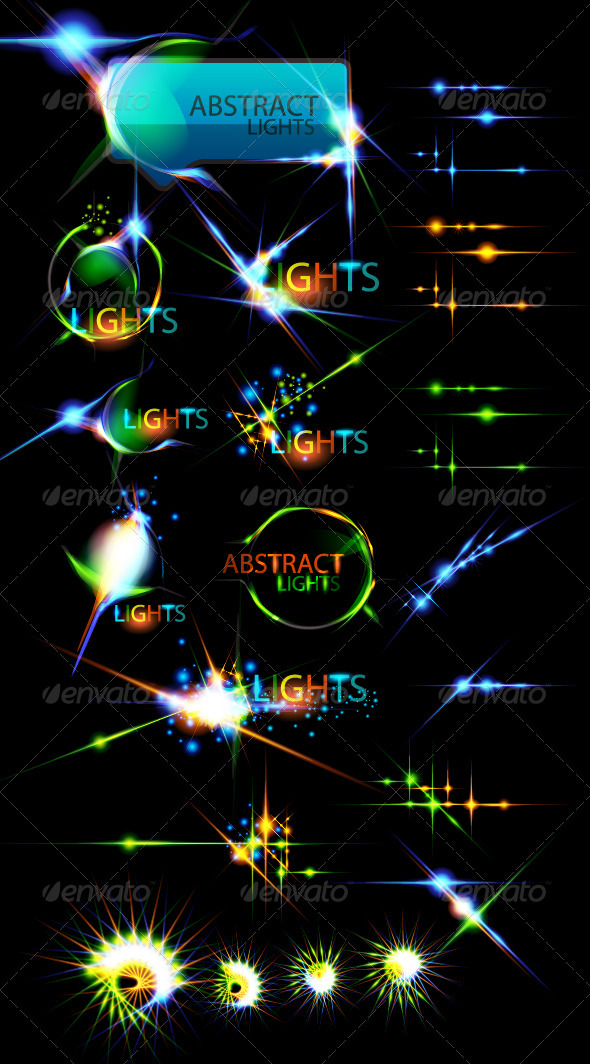 Vector collection of color lightning effects - Decorative Symbols Decorative