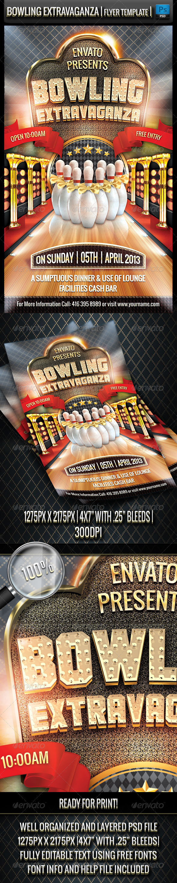 Bowling Extravaganza Flyer Template - Flyers Print Templates