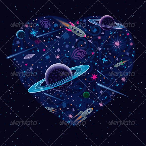 Valentine Cosmic Heart - Valentines Seasons/Holidays