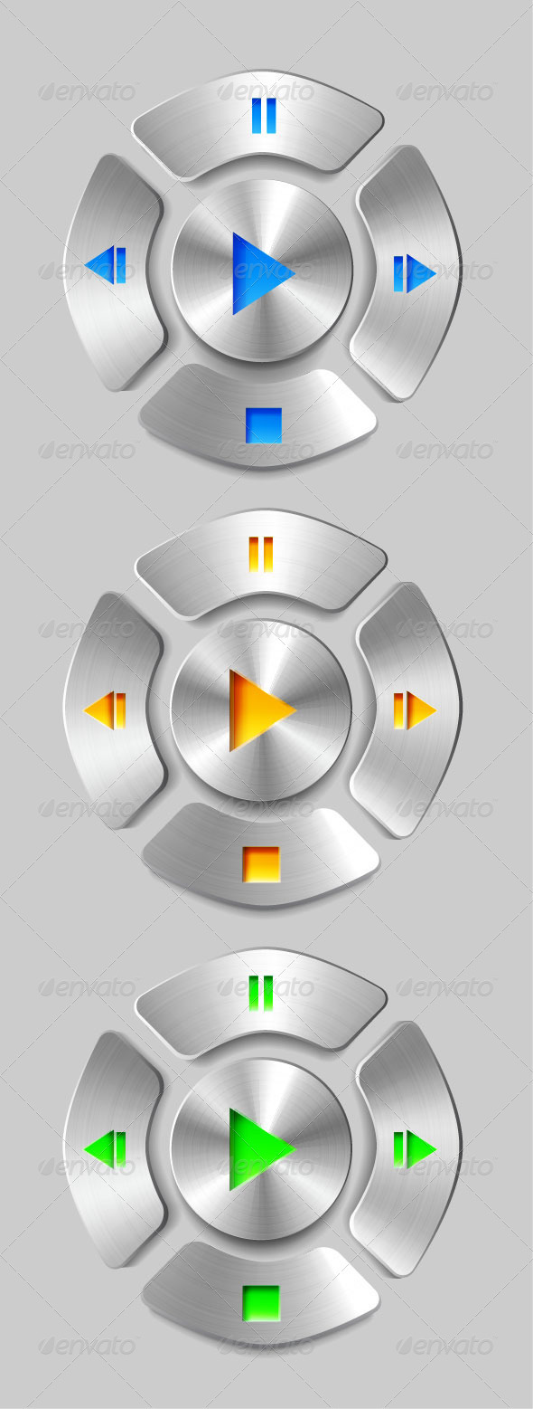 Vector Brushed Metal Media Player Buttons - Technology Conceptual
