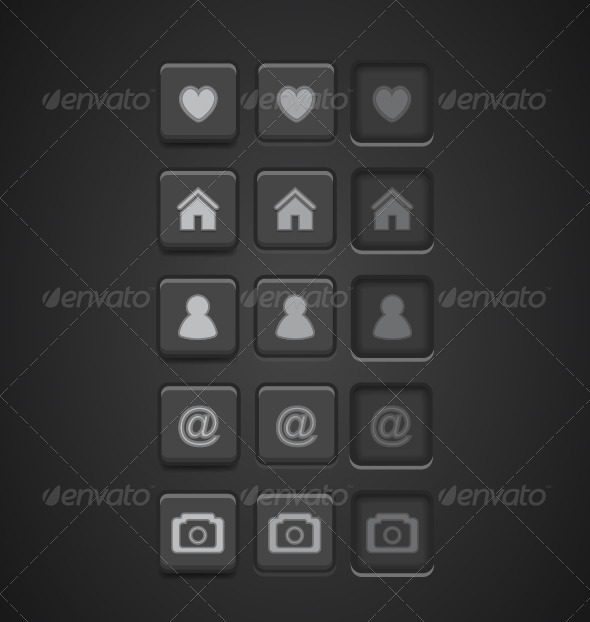 Black Vector Buttons - Technology Conceptual