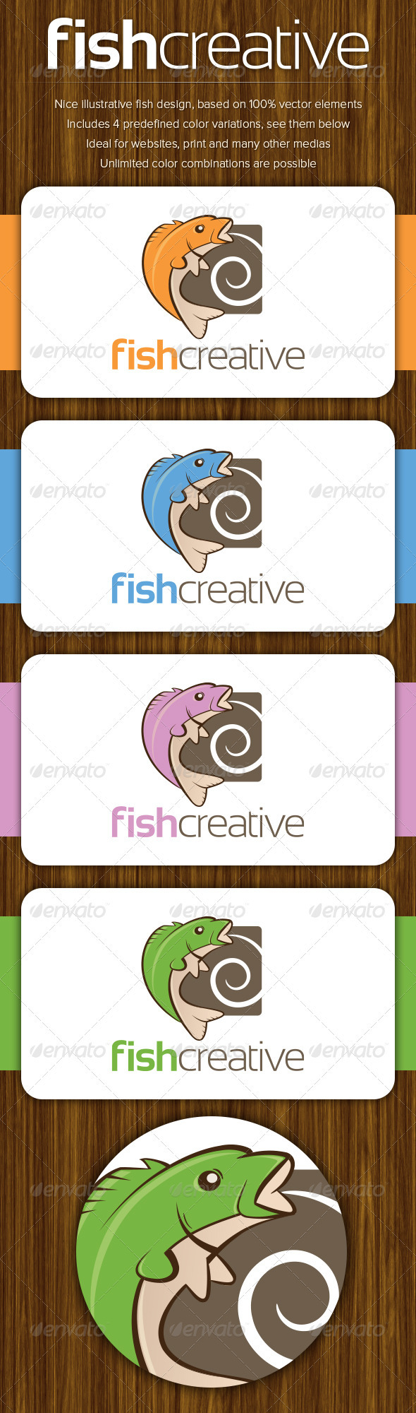 FishCreative - Illustrative Fish Logo Template - Animals Logo Templates