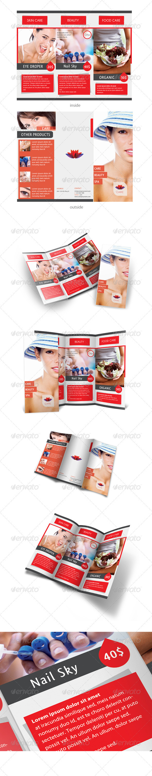 Care & Spa Trifold Template - Catalogs Brochures