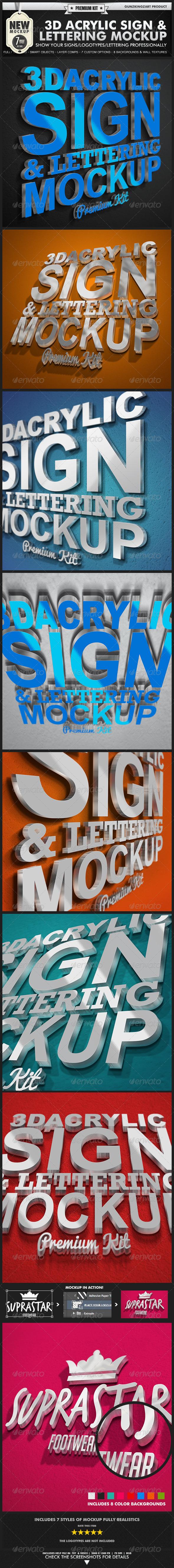 3D Acrylic Sign Mockup - Premium Kit - Signage Print
