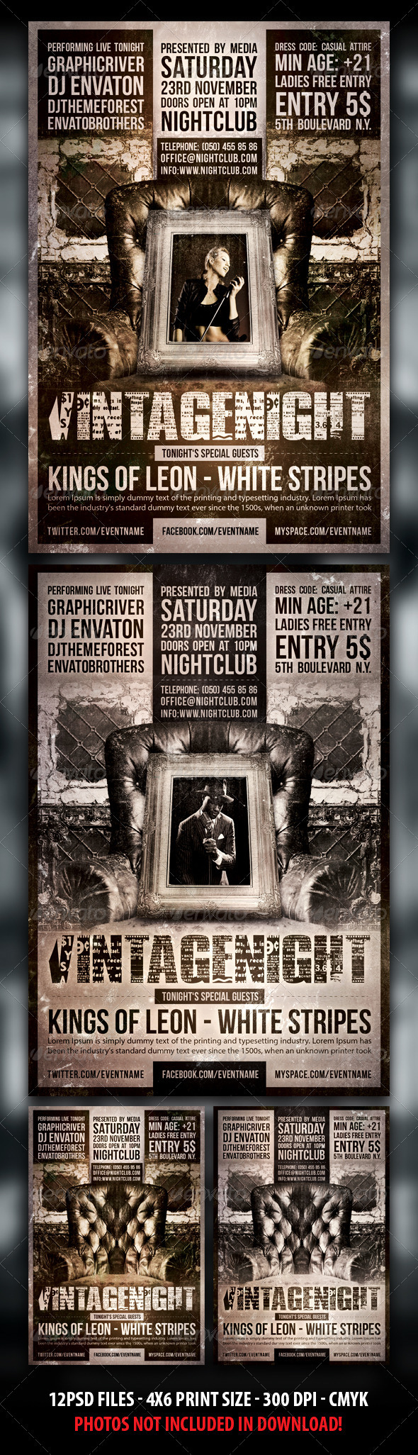 Indie / Vintage Party / Concert Flyer - Clubs & Parties Events