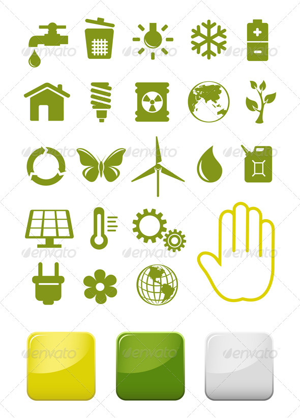 Environment And Ecology Icons Set - Technology Conceptual