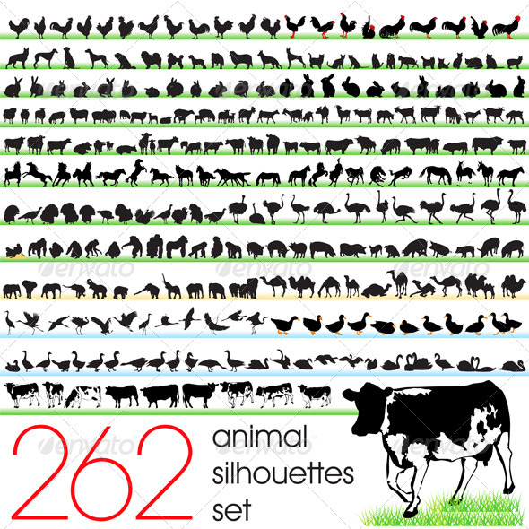 262 Animals Silhouettes Set - Animals Characters