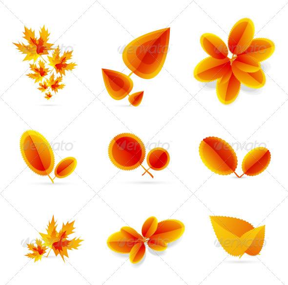 Autumn leaf icons - Seasons Nature
