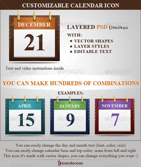 Customizable Calendar Icon - Media Icons