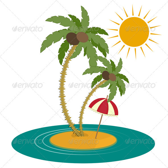 Palm Trees and Island on White Background - Flowers & Plants Nature