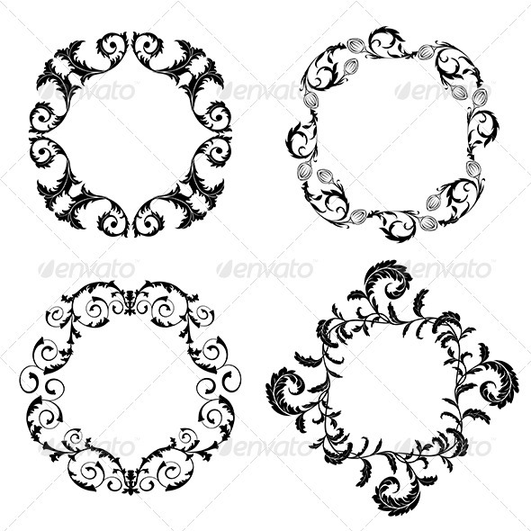 Set of Floral Design Elements - Decorative Symbols Decorative