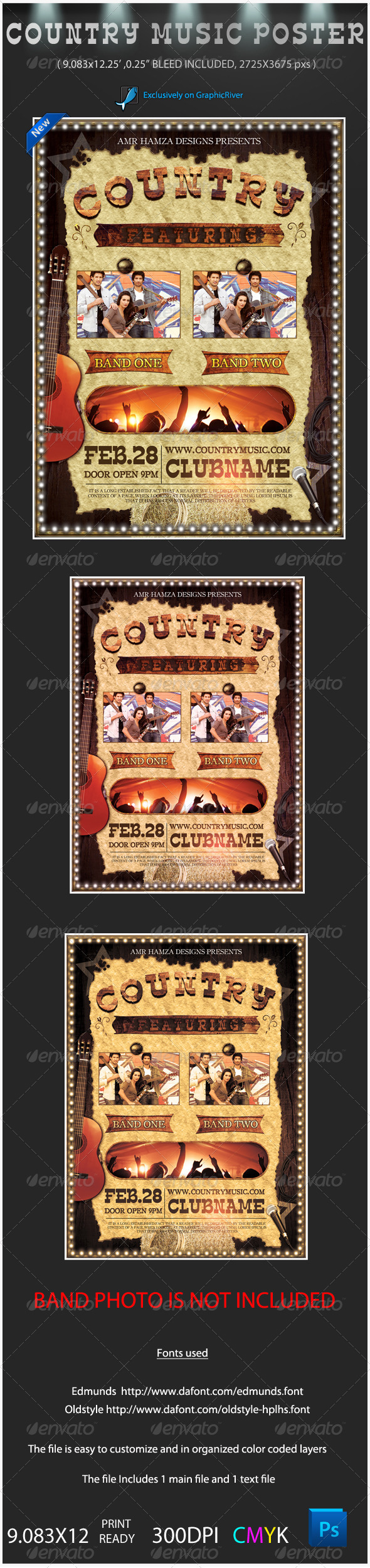 Country Music Event Poster - Clubs & Parties Events