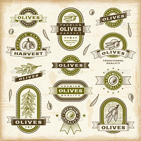 Vintage Olive Labels Set - Decorative Symbols Decorative