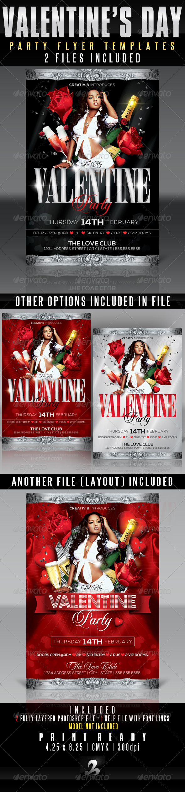Valentine's Day Party Flyer Templates - Clubs & Parties Events