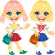 Vector Smiling Blonde Cute Schoolgirls - GraphicRiver Item for Sale