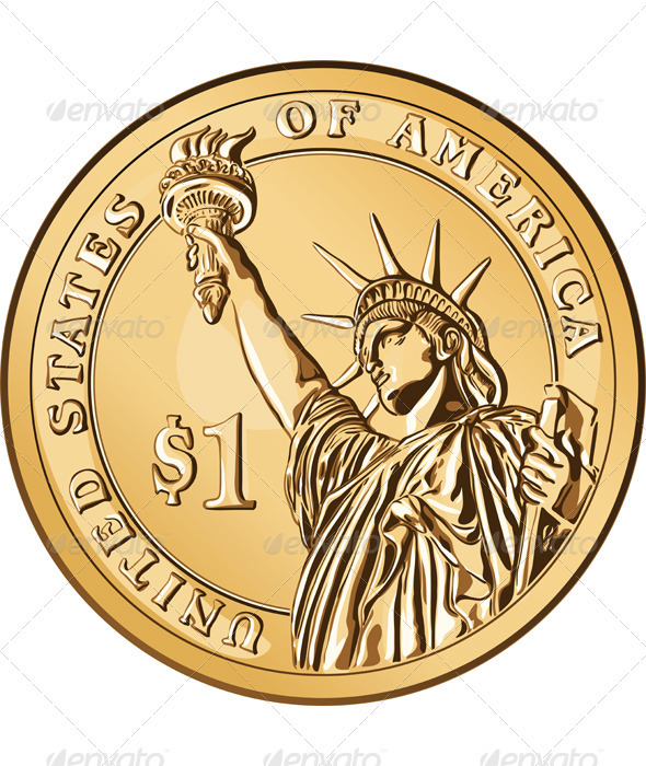 Vector American gold coin one dollar - Man-made Objects Objects