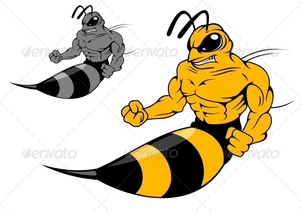 Danger Yellow Hornet with Sting - Animals Characters