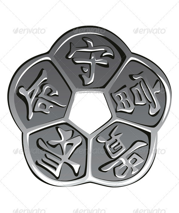 Vector ancient chinese coin feng shui - Man-made Objects Objects