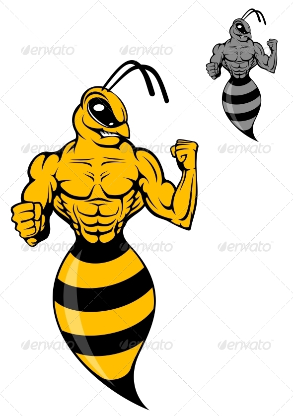 Powerful Wasp or Yellow Hornet - Animals Characters