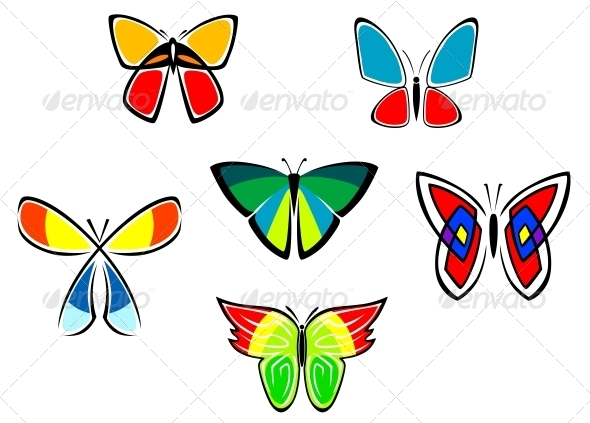 Colorful Butterfly Icons and Tattoos - Decorative Symbols Decorative