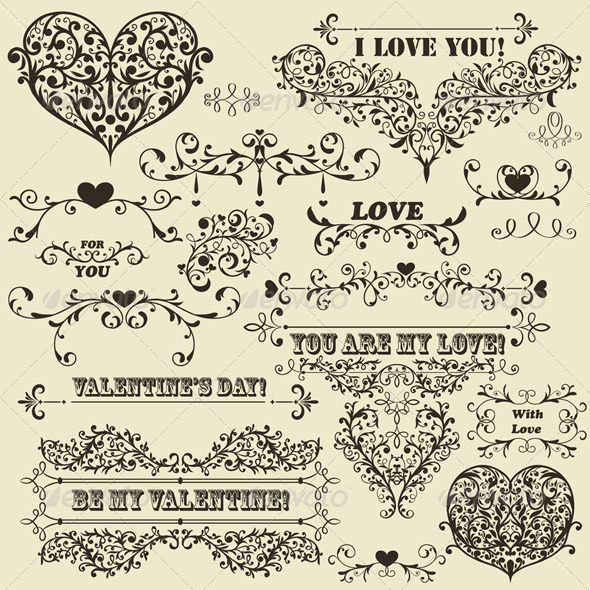 Vector Vintage Valentine's  Design Elements - Valentines Seasons/Holidays