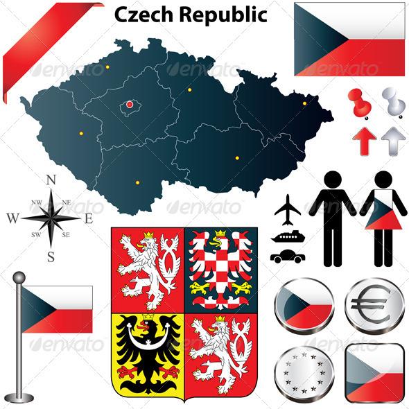Czech Republic Map - Travel Conceptual