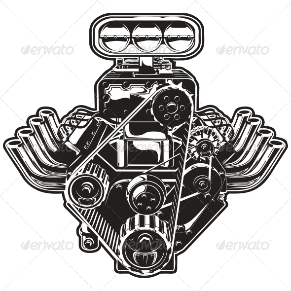 Vector Cartoon Turbo Engine - Tattoos Vectors