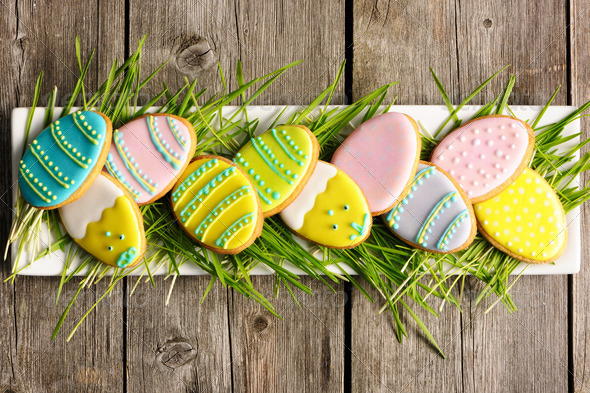 Easter homemade gingerbread cookie - Stock Photo - Images