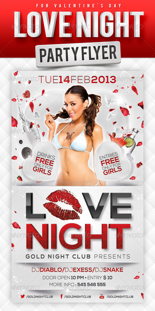Love Night Party Flyer - Events Flyers