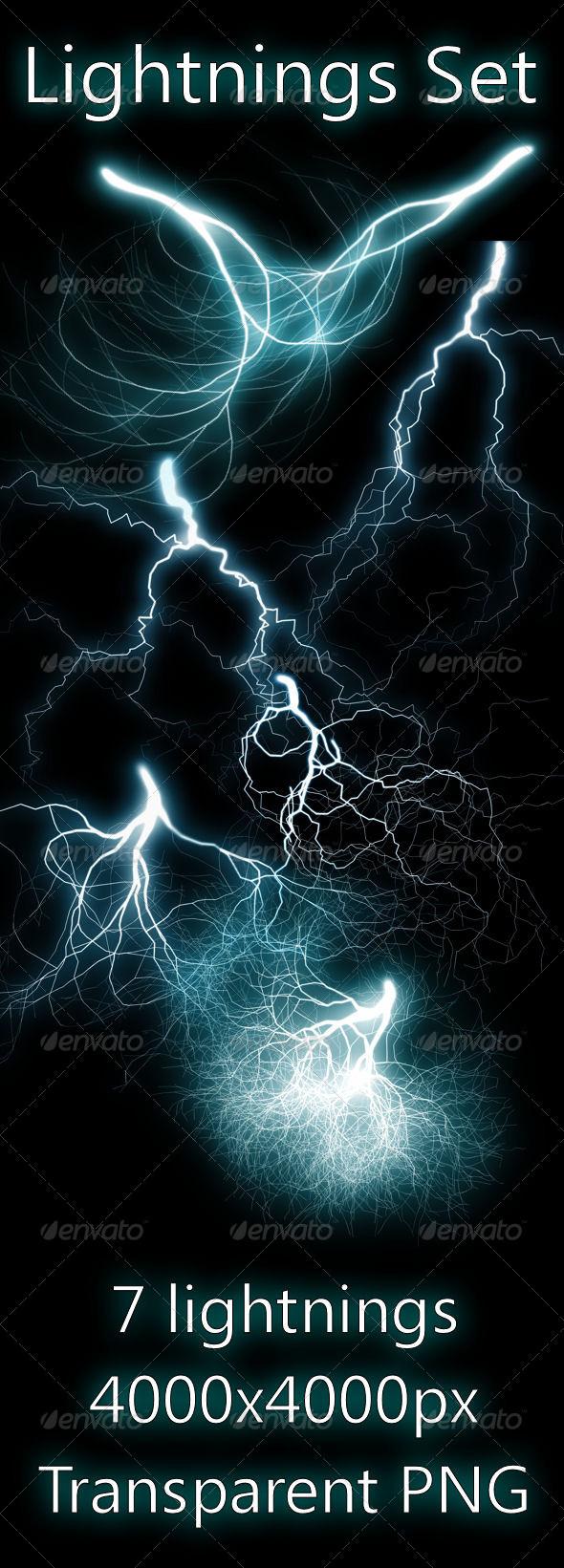 Lightnings Set - Nature Backgrounds