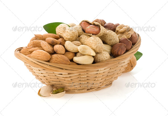 set of nuts on white - Stock Photo - Images