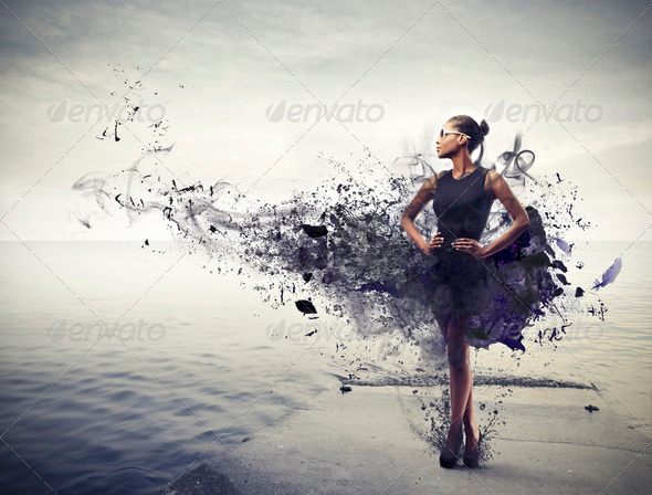 Black Girl in Black - Stock Photo - Images