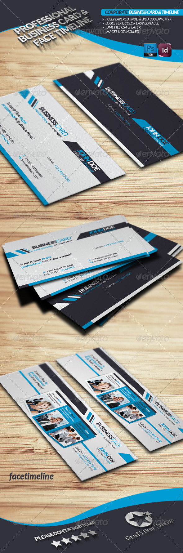 Corporate Business Card Face-Timeline - Corporate Business Cards