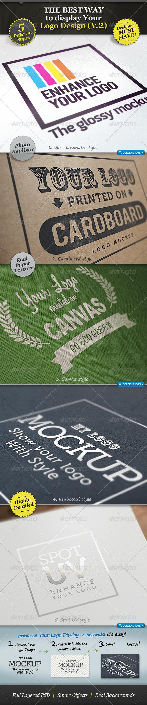 5 Realistic Logo Mockups - Smart Template V.2  - Logo Product Mock-Ups