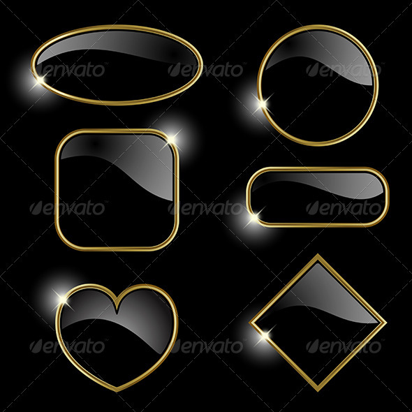 Set from golden frames  - Decorative Symbols Decorative