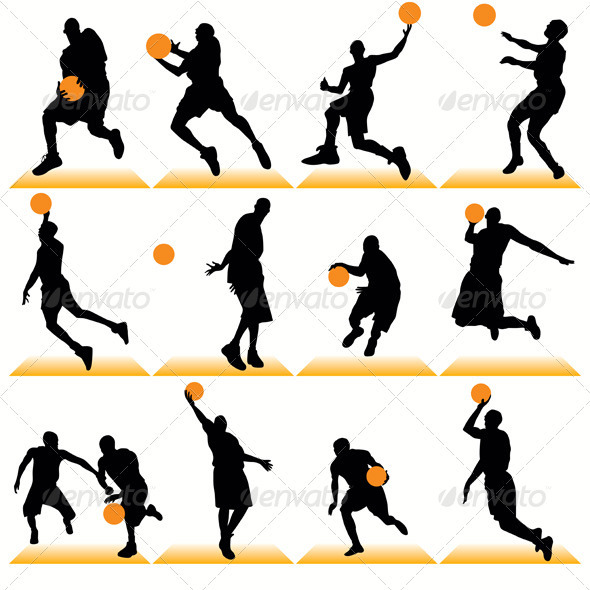 Basketball Players Silhouettes Set - Sports/Activity Conceptual