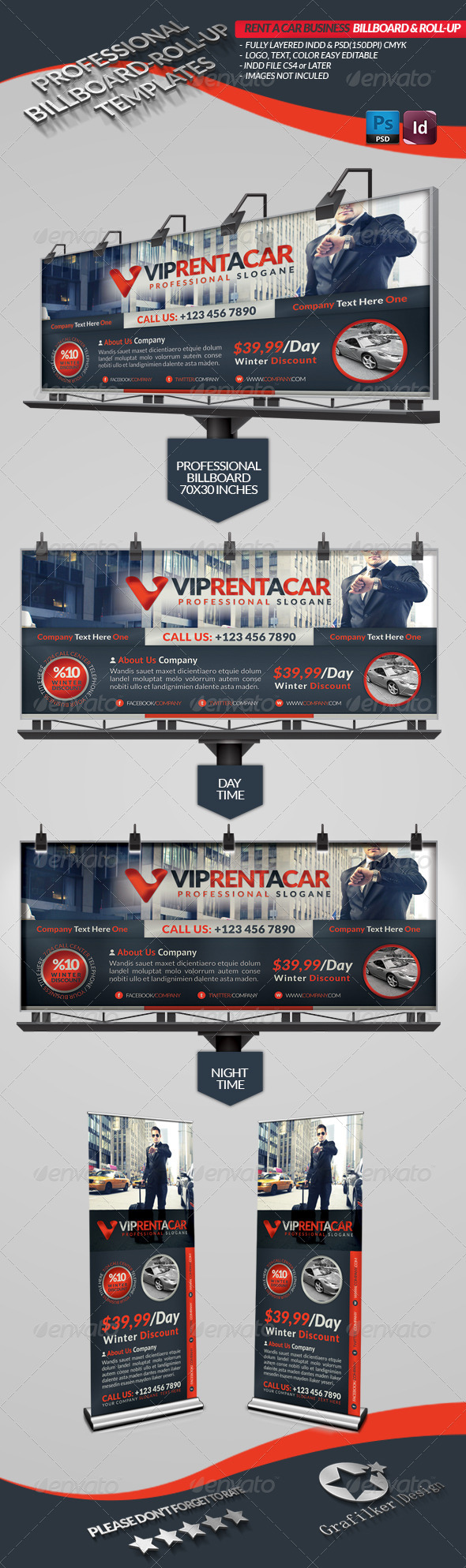 Rent A Car Business Billboard & Roll-Up - Signage Print Templates