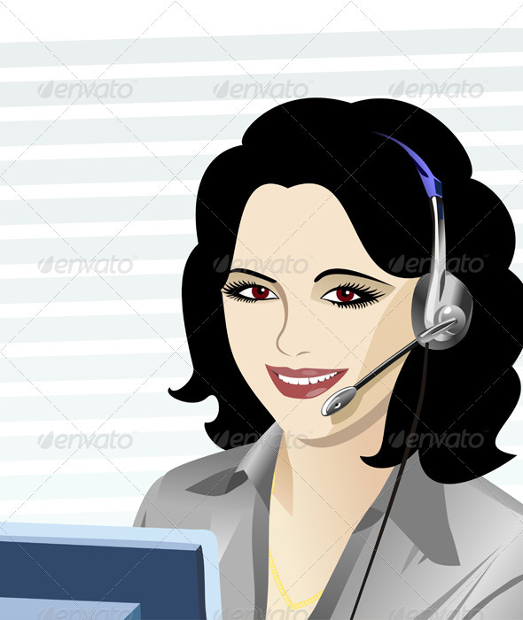 Vector young beautiful girl telephone operator - People Characters