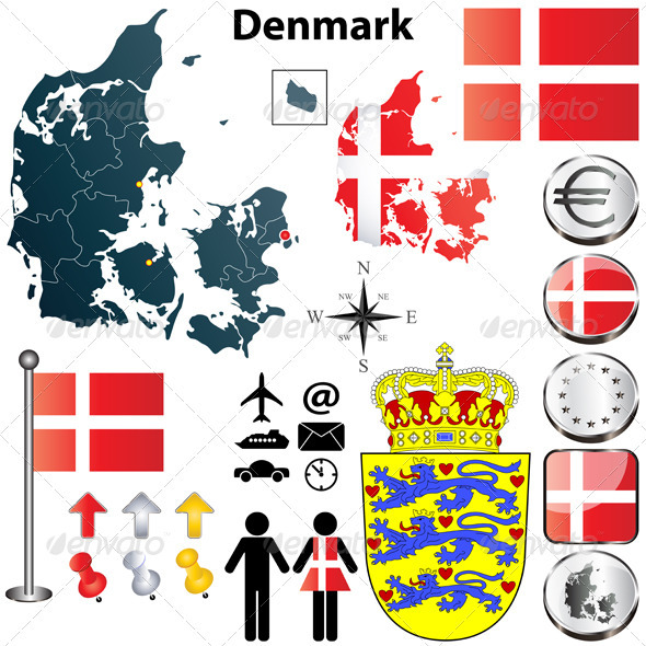 Denmark Map - Travel Conceptual