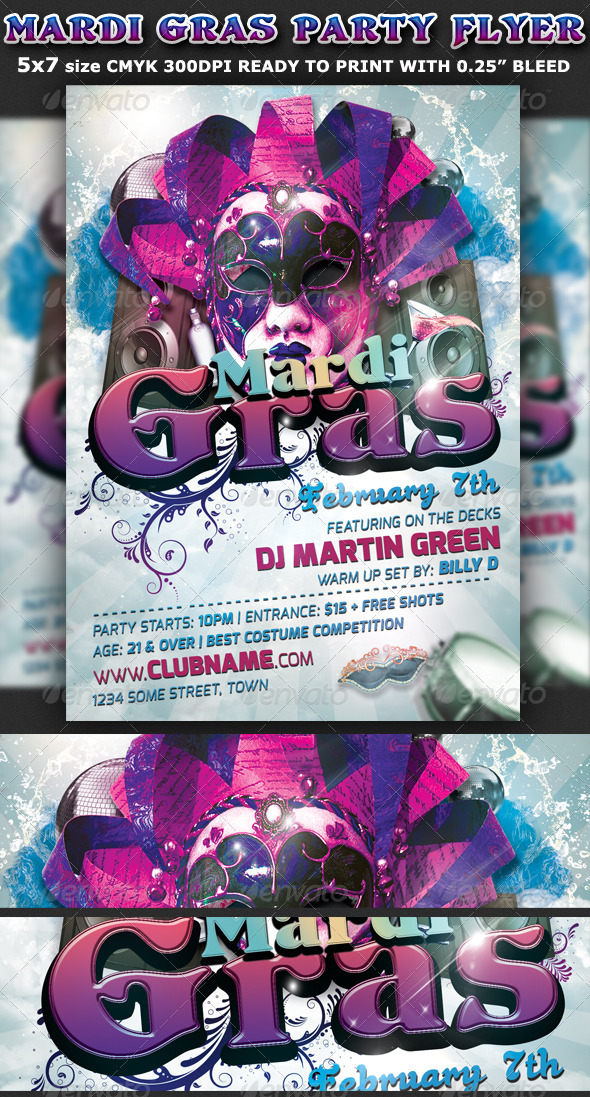Mardi Gras Party Flyer Template - Clubs & Parties Events