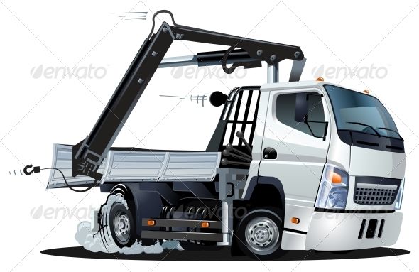 Vector Cartoon Lkw Truck with Crane - Man-made Objects Objects