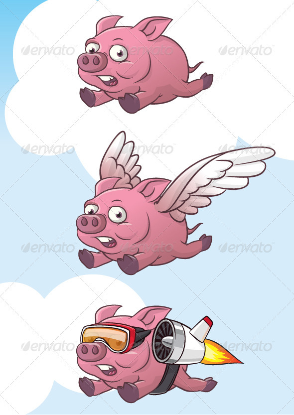 Set of flying pig  - Animals Characters