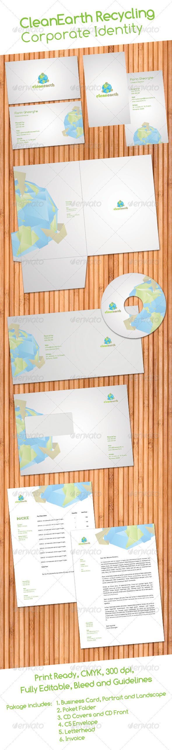 Clean Earth Recycling Corporate Identity - Stationery Print Templates