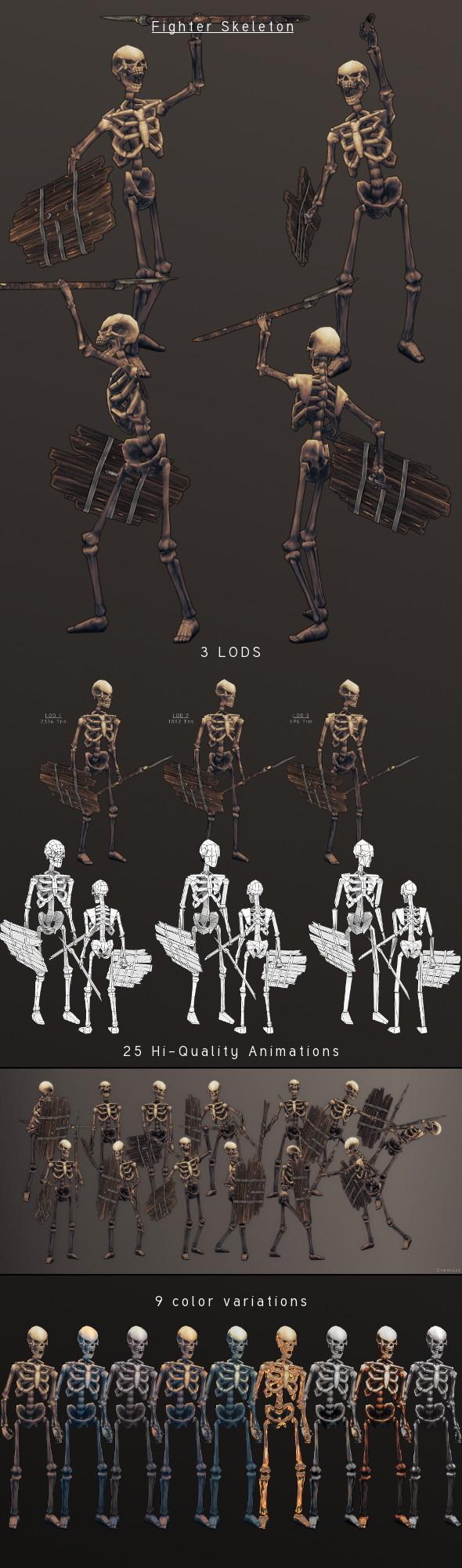 LowPoly HandPainted Fighter Skeleton - 3DOcean Item for Sale