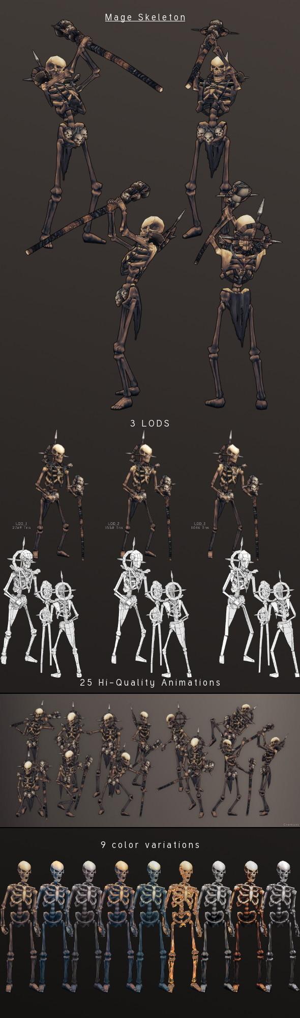 LowPoly HandPainted Mage Skeleton - 3DOcean Item for Sale