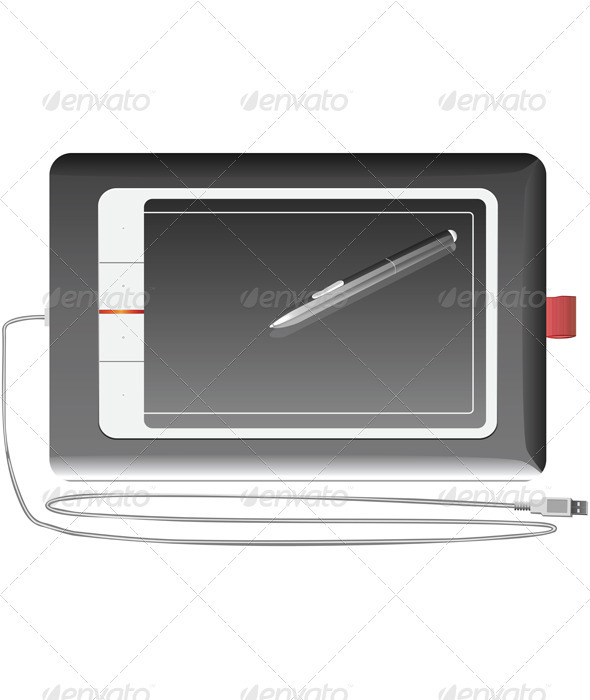 Vector graphics tablet silver on a white backgroun - Man-made Objects Objects