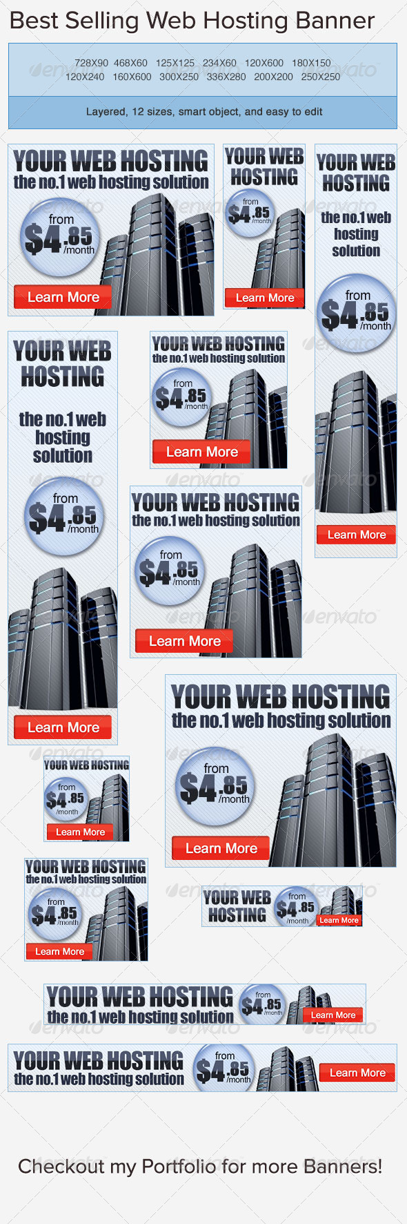 Web Hosting PSD Banner Ad Template - Banners & Ads Web Elements