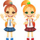 Vector chestnut and redhead cute schoolgirs - GraphicRiver Item for Sale