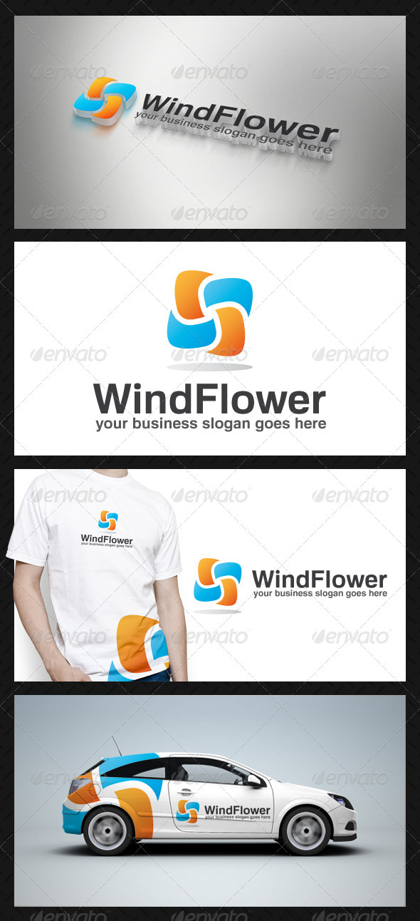 Wind Flower Logo Template - Vector Abstract